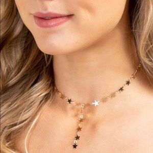Gold star choker necklace new